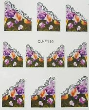 Nail art stickers bijoux d'ongles: 10 décalcomanie fleurs - bordures dentelle