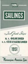 1951 Eastbound Sailing Schedule for the M.S. Oslofjord and S.S. Stavangerfjord