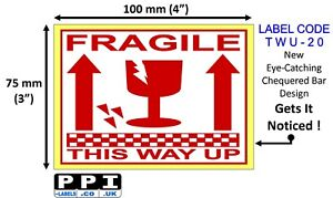 Red FRAGILE GLASS THIS WAY UP Packaging Roll Labels Stickers 100x75mm 4x3 TWU-20
