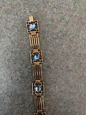 Vintage Gold Filled Bracelet With Blue Stones
