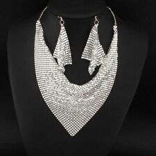 HOT Statement Celeb Silver Fluid Choker Collar Bib Necklace Set Rocks Boutique