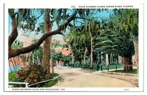 Dixie Highway along Indian River between Cocoa and Rockledge, FL Postcard *6E2