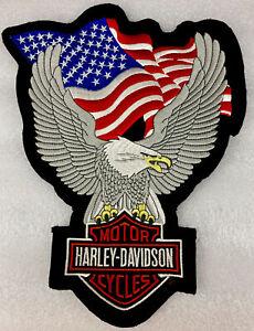 XLarge Harley Davidson Screaming Eagle & American Flag Vest Or Jacket Back Patch