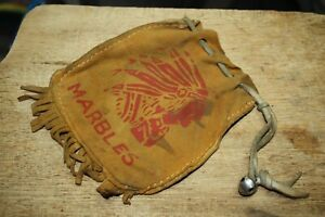 Vintage Leather Marble Bag with Indian Chief & Leather Fringe