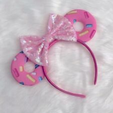 NEW Disney Minnie Mouse Sequin Headband Donut Ears Pink