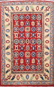 Geometric RED/ IVORY Super Kazak Oriental Area Rug Wool Hand-Knotted Foyer 2'x3'