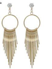 Tassels Earrings Cubic Zirconia Crystal Gold Toned Tassel Dangle Earrings