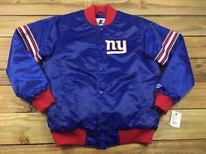 NWT NFL Starter New York Giants Satin Draft Pick Jacket L Royal Blue Varsity
