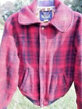 Vintage 1960s Woolrich Buffalo Red Black Winter Wool Hunting Bomber Jacket Coat