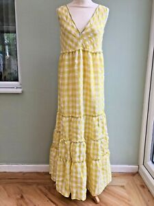 FREE PEOPLE MAXI DRESS MED 12/14 TIERS TIE BACK YELLOW & WHITE GINGHAM £135 BNWT