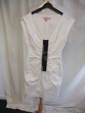Ladies Dress Ted Baker, size 0, ivory cotton & black beaded panel, stretch 7691
