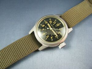 Vintage Bulova A-17A  Hack US MIlitary Pilots Mens Watch Stainless Steel 1959