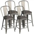 4PCS Metal Bar Stools Industrial Dining Chairs High Top Chairs Classic Stools