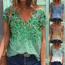 Summer Women Casual Short Sleeve T Shirt V Neck Tunic Floral Tops Loose Blouse