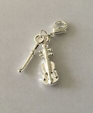 BEAUTIFUL SILVER CHELLO & BOW- 3D - CLIP ON CHARM FOR BRACELETS - SILVER PLATE