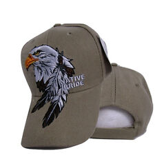 Native Pride American Indian Eagle Feather Shadow Khaki Tan Embroidered Cap Hat