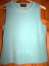 Green REQUIREMENTS Acrylic SOFT Sleeveless FAUX PEARLS Sweater/Size Petite S