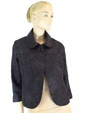HARARI BLACK TEXTURED FABRIC  ONE BUTTON CLOSURE JACKET SIZE S