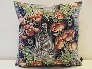 Liberty Rare Vintage 50s Floral Kyoto Linen & Blue Velvet Fabric Cushion Cover