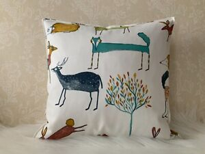"16 x 16"" FOREST ANIMALS FOX DEER CUSHION COVER  same fabric on the reverse"