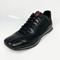 Prada Designer Trainers UK10 (Fits a UK11) Black Leather Fabric (1216 C8)