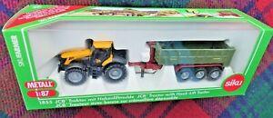 SIKU 1855 1/87 JCB8250 V-Tronic tractor with Fortuna hook lift trailer (MIB)