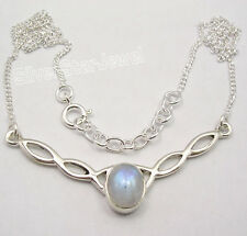 925 Pure Silver Beautiful RAINBOW MOONSTONE WELL MADE Necklace COMBINED SHIPPING