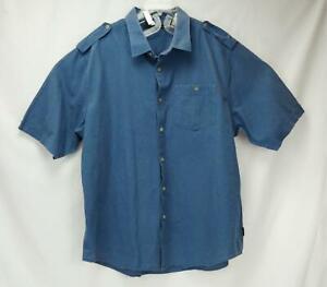 Sean John Short Sleeve Button Up Shirt Blue Men's XXXXL