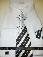 Dress shirt w hanky steven land spread collar french cuff for Mens eyelet collar dress shirts