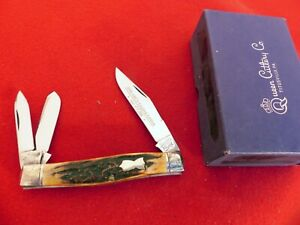 Queen City USA 1991 beautiful stag engraved bolsters whittler knife MINT IN BOX