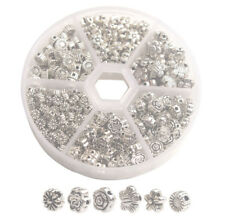 380PCS Antiqued Silver Metal Flower Spacer Beads for Jewelry Making