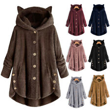 14-20 Ladies New Rust Fleece Duffle Style Hooded Coat Long Jacket Girls Womens