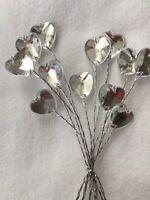 12 Wire Stem Acrylic Diamante Heart / Wedding Bridal Flowers Floral crafts