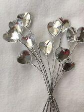 12 FILO GAMBO Acrilico Diamante Cuore Natale/Nozze Fiori Floreale Crafts