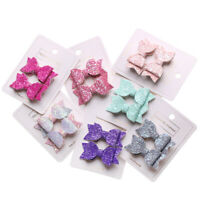2pcs/set Cute Sequins Bows Baby Girls Double Layer Hairpins Glitter Hair Clips
