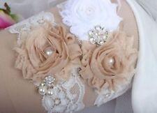 Champagne Flower Lace Wedding Garter Set Vintage Rhinestone Pearl Beaded Bridal