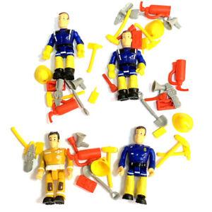 4PCS Fireman Sam & Elvis w/ Accessory Set PVC Cake Toppers Action Figures Toy