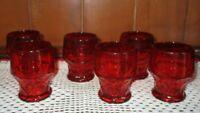 Set of 6 vintage red glass juice glasses