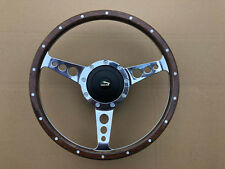 "Jaguar 420 XJ6 XJ12 Traditional Classic Alloy & Riveted Wood 13"" Steering Wheel"