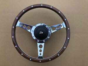 "Jaguar 420 XJ6 XJ12 Traditional Classic Alloy & Riveted Wood 13"" Steering Wheel"