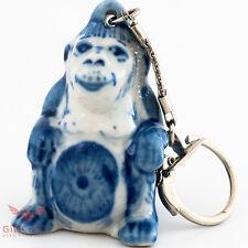 Gzhel Monkey key chain Porcelain handmade souvenir