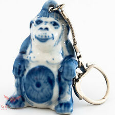 Gzhel Monkey key chain Porcelain symbol year 2016 handmade new year souvenir