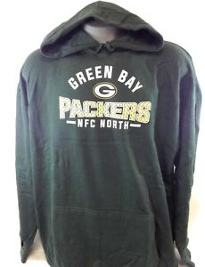 NEW Mens Majestic NFL Green Bay Packers Screen Print Football Pullover Hoodie