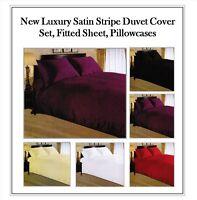 MODERN SATIN STRIPE DUVET SET QUILT COVER BEDDING SET, FITTED SHEET, PILLOWCASE