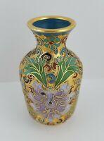 Antique Chinese Cloisonne Lotus Flower Gold Gilt Bud Vase