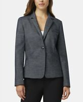 Tahari Arthur S. Levine One-Button Notch Collar Jacket Navy/White Size 8