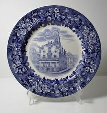 """Wedgwood Blue & White Transfer Old State House Boston 10-3/8"""" Plate Excellent"""