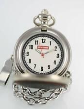 Craftsman White Mens Stainless Steel Silver Quartz Battery Pocket Watch