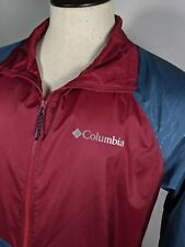 COLUMBIA Mens Size S Packable Zip Front Jacket Windbreaker Pockets Blue Red