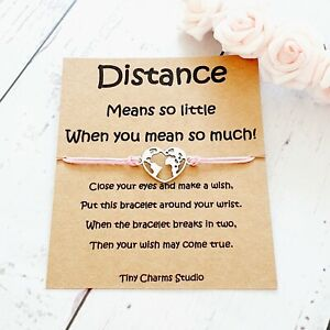 Long Distance Relationship Travel Gift Wish Bracelet Couples Gift Going Away